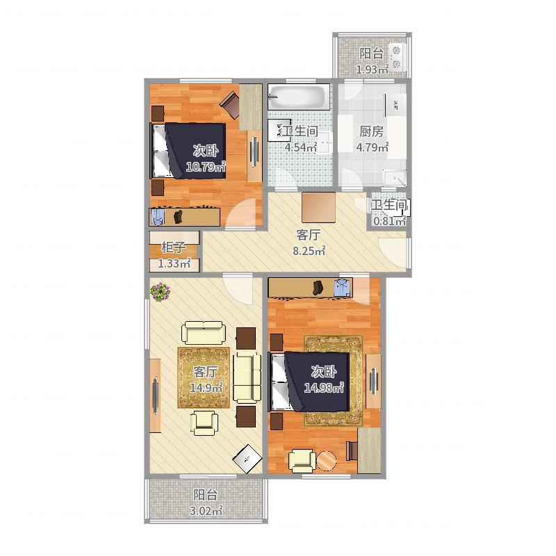 文庙巷文物局宿舍-2-西-3-西户型图