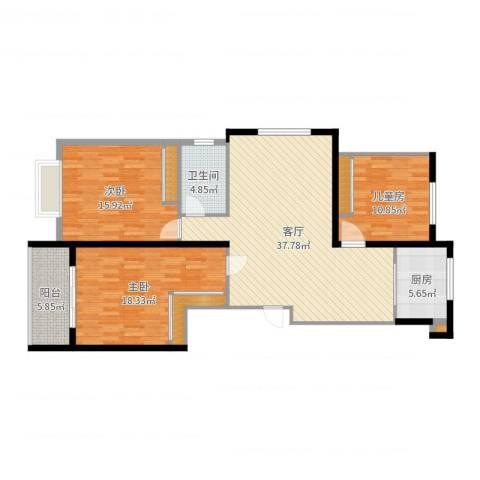 宝林大东关颐景园3室1厅1卫1厨129.00㎡户型图
