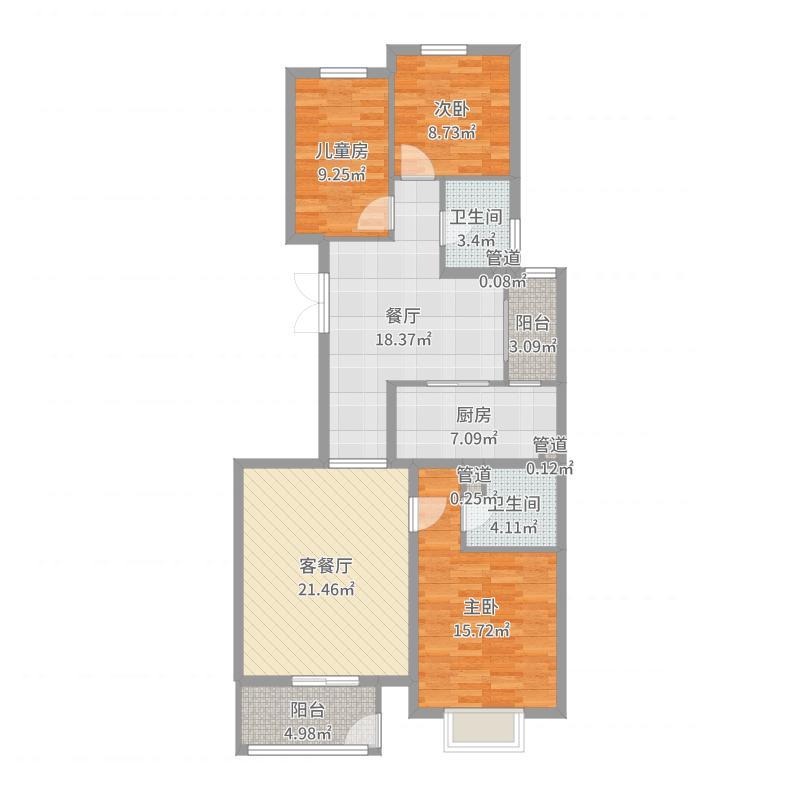 顺泽・水榭花城121.00㎡洋房B3居户型3室3厅2卫1厨户型图