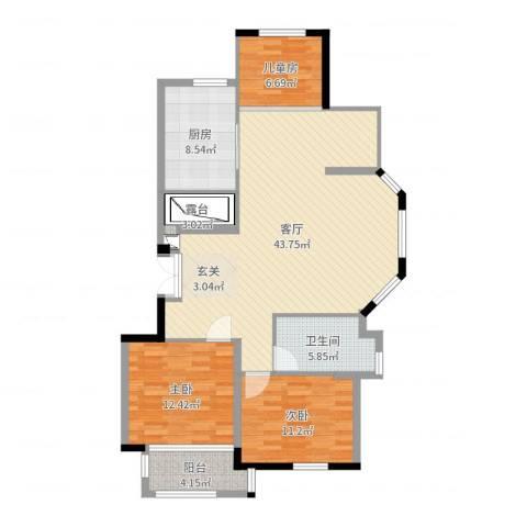 中远欧洲城3室1厅1卫1厨120.00㎡户型图
