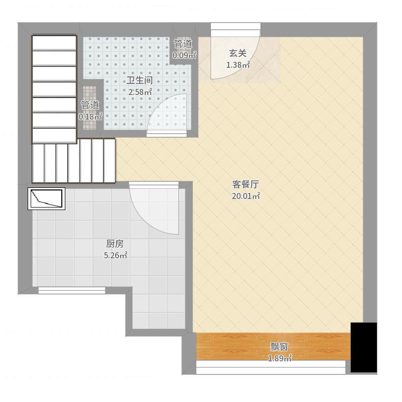 晟宝龙广场44.89㎡LOFT河景墅级公寓精装B户型2室2厅1卫1厨-副本户型图