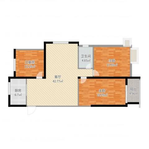 宝林大东关颐景园3室1厅1卫1厨136.00㎡户型图
