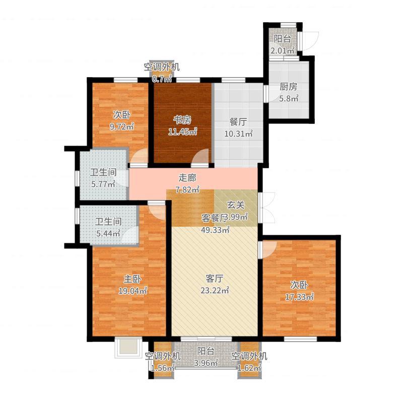 北国风光天建城户型4室1厅2卫1厨-副本户型图
