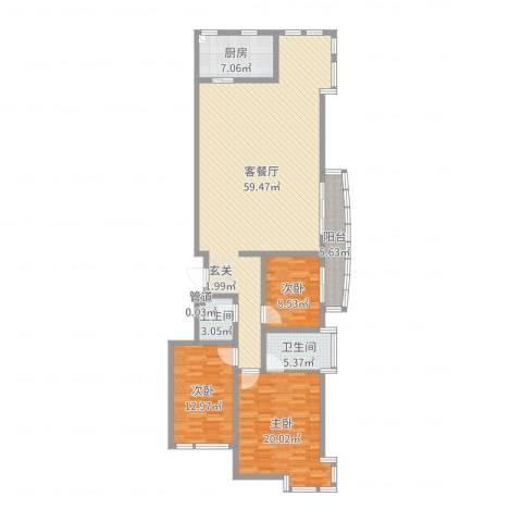 中道山水御园3室2厅2卫1厨153.00㎡户型图