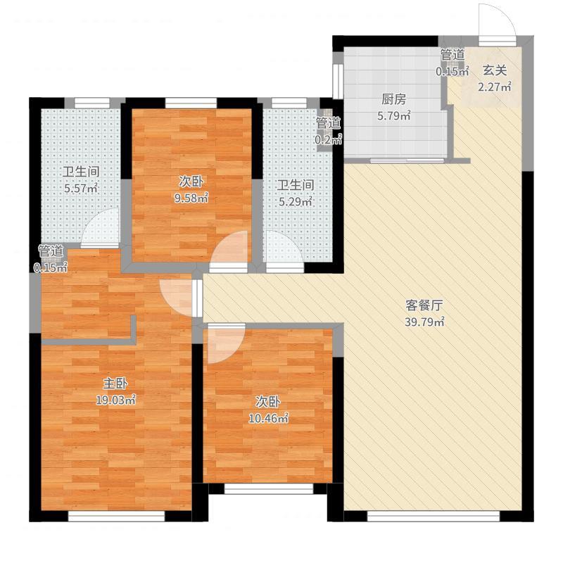 旭辉锦堂120.00㎡高层户型3室3厅2卫1厨-副本户型图
