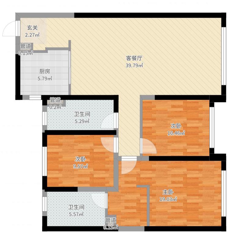 旭辉锦堂120.00㎡高层户型3室3厅2卫1厨户型图