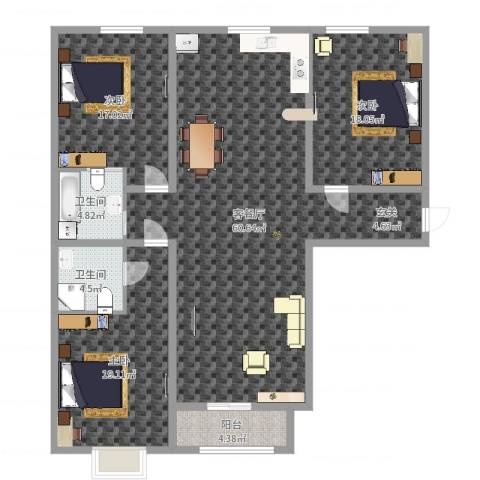 红星国际3室2厅2卫0厨161.00㎡户型图