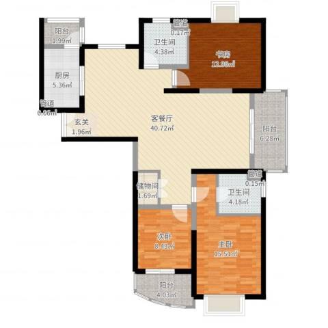 信政天鹅湾3室2厅2卫1厨132.00㎡户型图