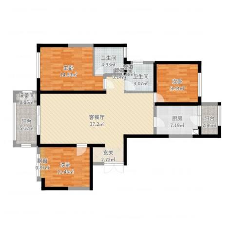 华邦国际3室2厅2卫1厨122.00㎡户型图