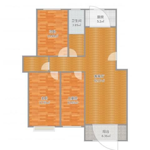 今日花园3室2厅1卫1厨137.00㎡户型图