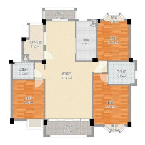 香江生态丽景3室2厅2卫1厨128.00㎡户型图