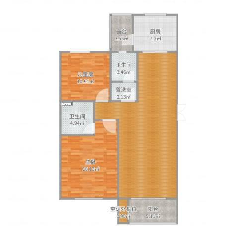 华邦国际2室2厅4卫1厨117.00㎡户型图