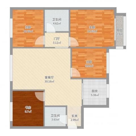 首开智慧社4室2厅2卫1厨116.00㎡户型图