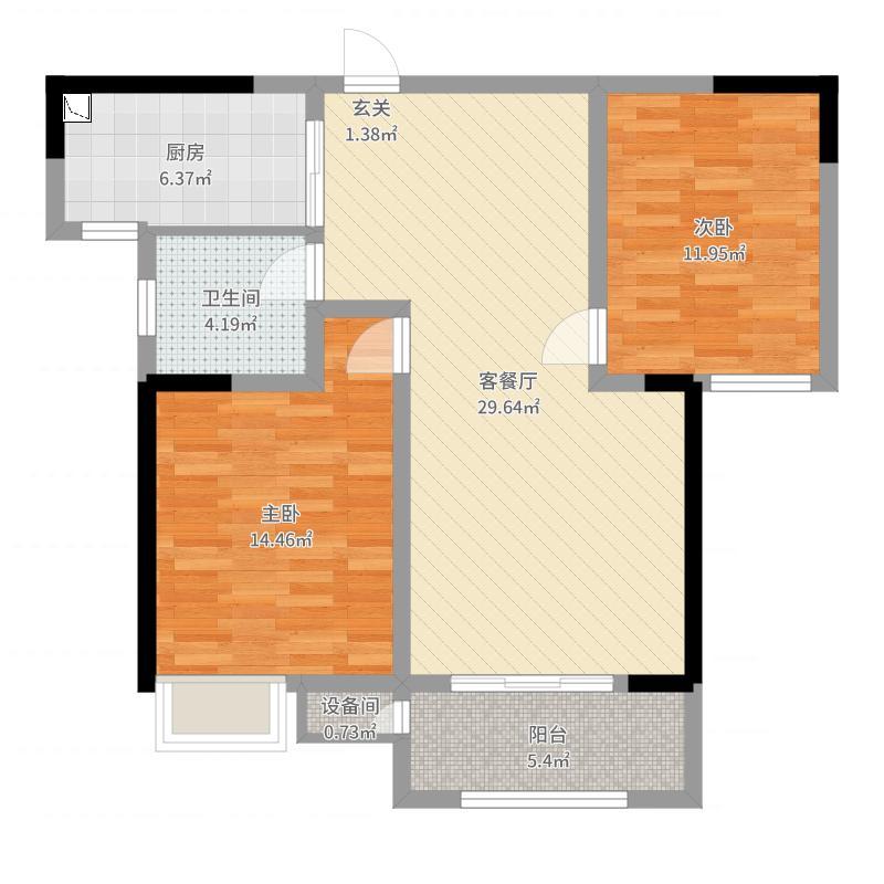 香树湾馨苑90.00㎡一期3#、4#标准层G户型2室2厅1卫1厨-副本户型图