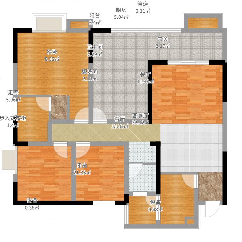 蓝澳岛109.92㎡一期3栋标准层A2户型-副本户型图