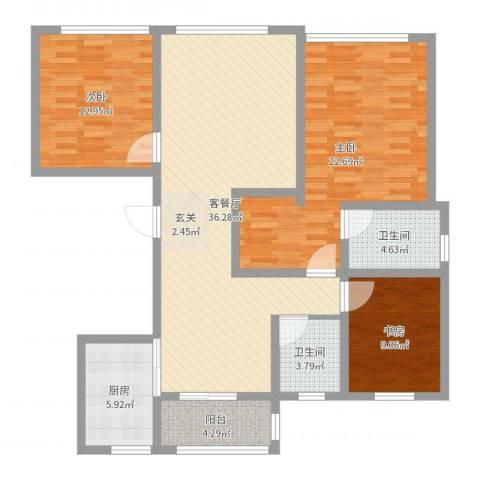 宝华・天泽府3室2厅2卫1厨125.00㎡户型图
