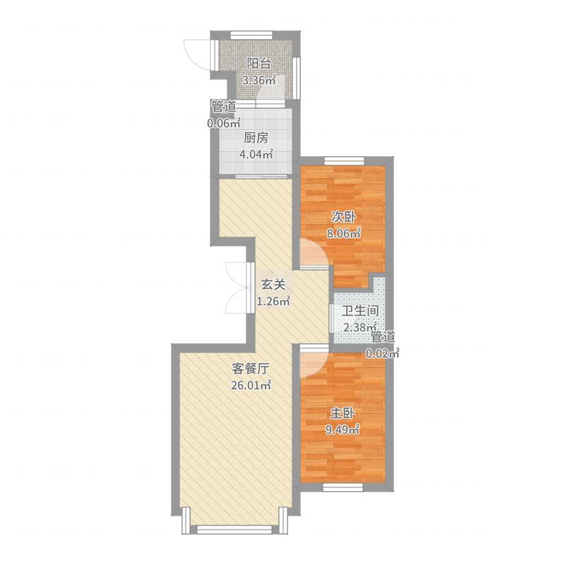 弘基世纪城78.00㎡二期高层C户型2室2厅1卫1厨-副本户型图