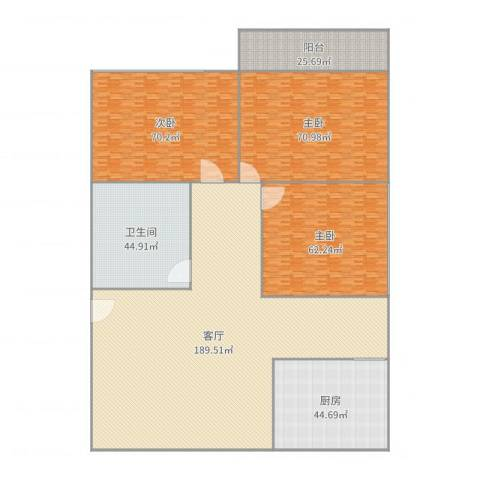大学南苑3室1厅1卫1厨635.00㎡户型图