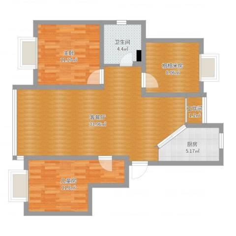 欧风家园16号202室2室2厅1卫1厨95.00㎡户型图