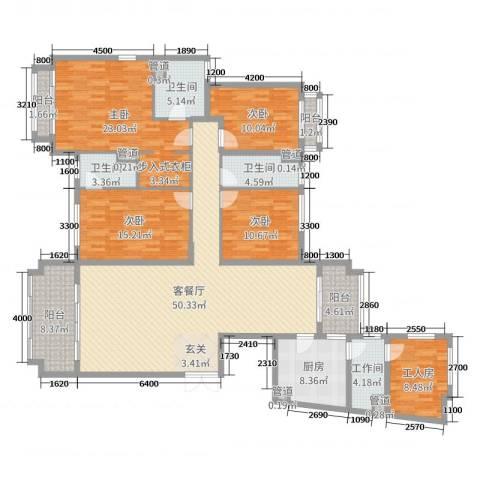 天乙海岸名都4室2厅3卫1厨200.00㎡户型图
