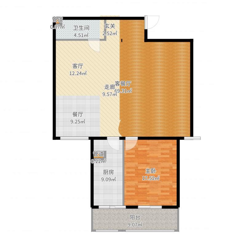 吉利家园107.86㎡二室二厅二卫户型户型图