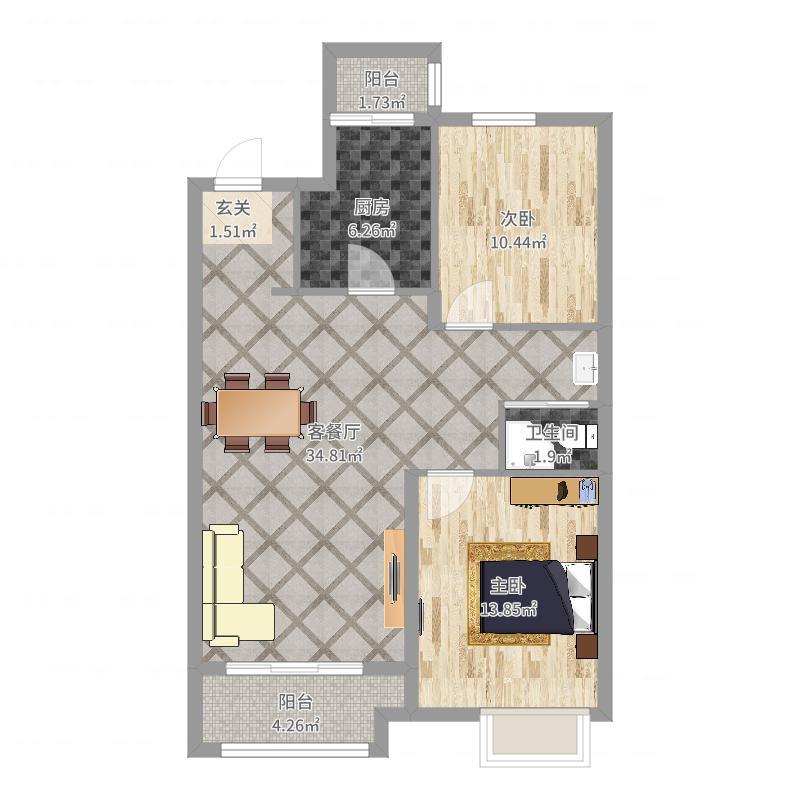 招商贝肯山91.00㎡二期高层G2户型2室2厅1卫1厨-副本户型图
