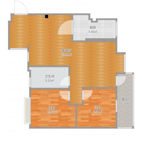 江畔花园2室2厅1卫1厨86.00㎡户型图