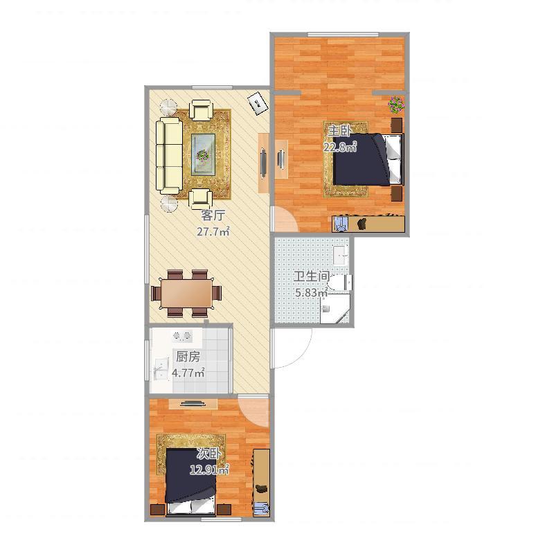 齐二小区1186弄2房1厅户型图