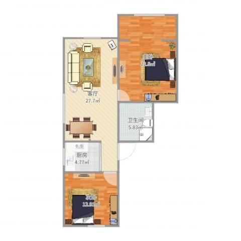 芳华苑329弄23号501室2室1厅1卫1厨93.00㎡户型图