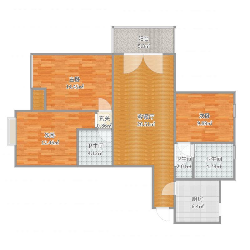 上海城8号楼B单0704户型图