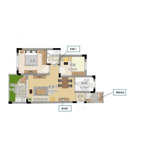 黟山郡南屏苑样板间2室2厅1卫1厨86.00㎡户型图