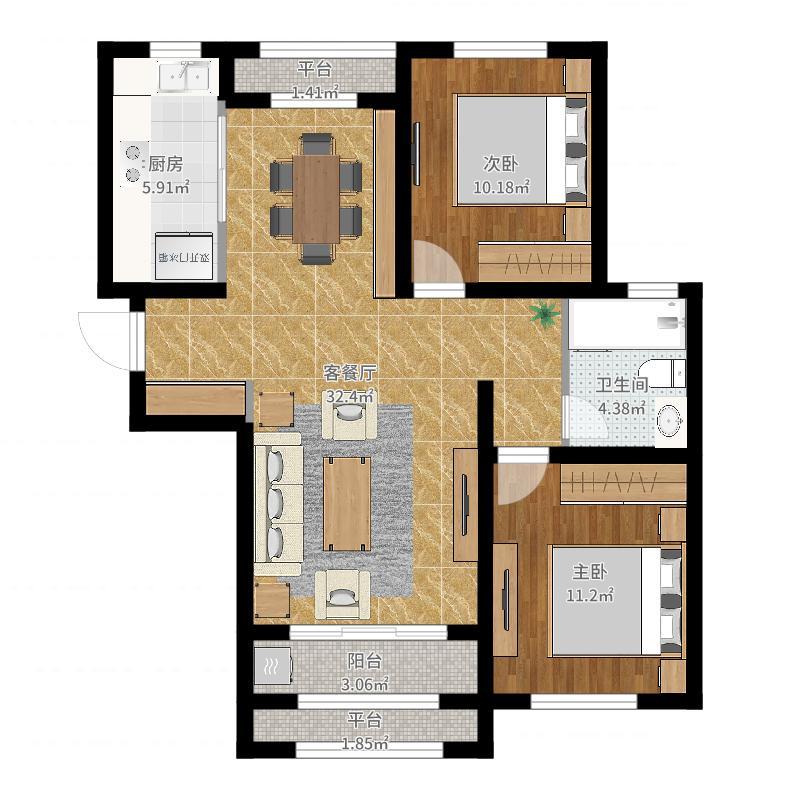 紫林湾105.88㎡11号楼2单元C1户型2室2厅1卫-副本-副本户型图