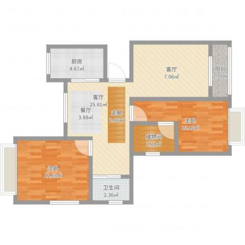 上城uptown2室1厅1卫1厨76.00㎡户型图