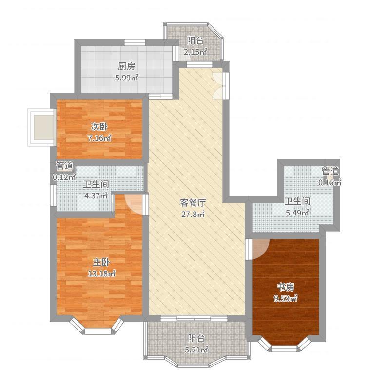 雅园118.00㎡户型3室2厅2卫1厨户型图