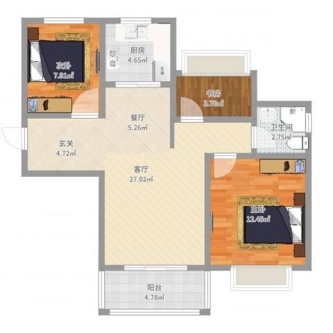 朗诗未来街区3室1厅1卫1厨79.00㎡户型图