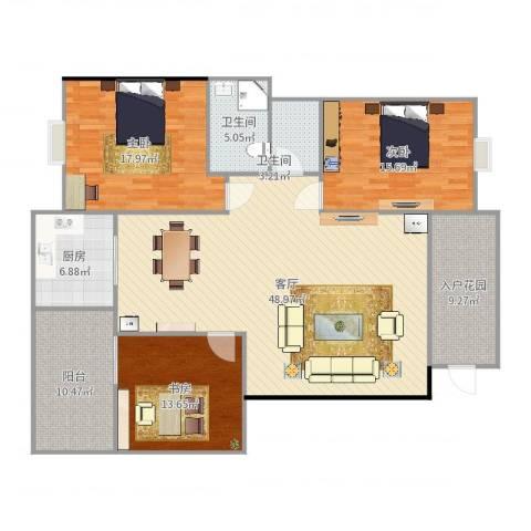 阳光海岸3室1厅2卫1厨164.00㎡户型图