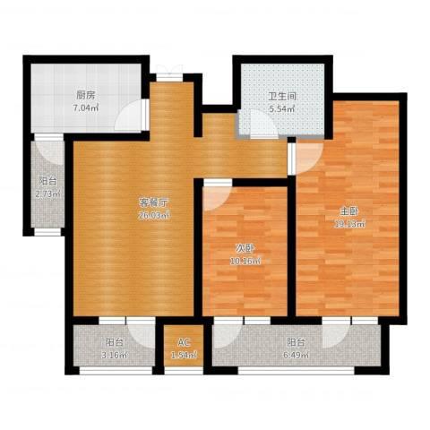 日月天地广场2室2厅1卫1厨102.00㎡户型图