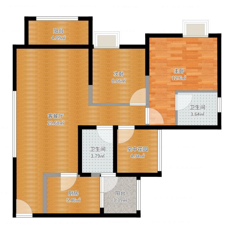爱加欧郡90.00㎡格林6栋2栋4号房户型2室2厅2卫-副本户型图