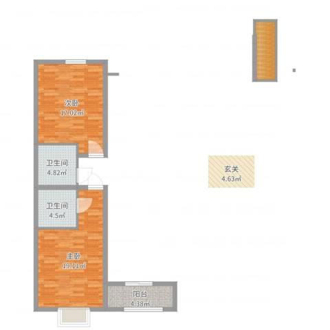 红星国际2室0厅2卫0厨67.00㎡户型图