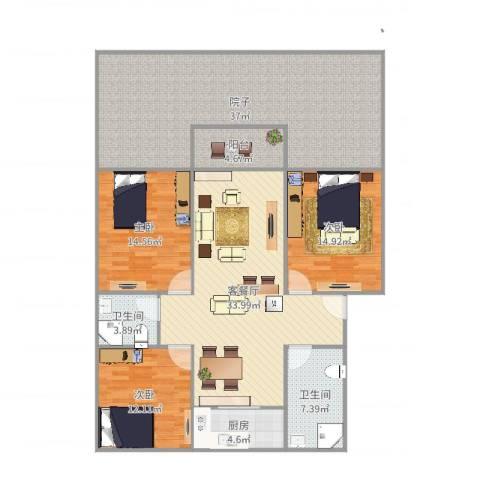 天瑞名城3室2厅2卫1厨166.00㎡户型图
