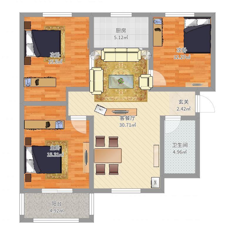 水岸春城111.23㎡A2户型3室3厅1卫1厨-副本户型图