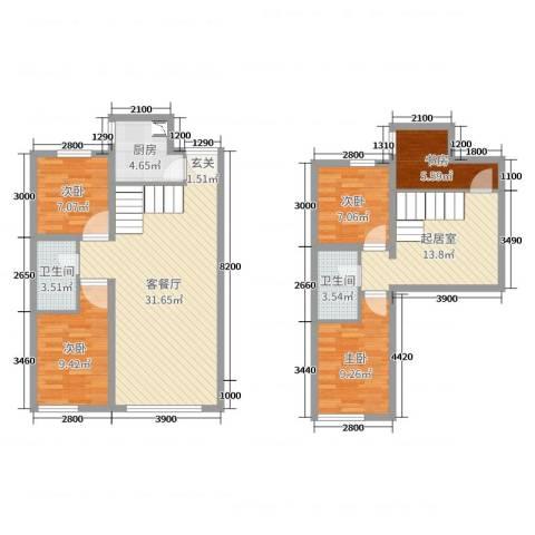 启新18895室2厅2卫1厨146.00㎡户型图