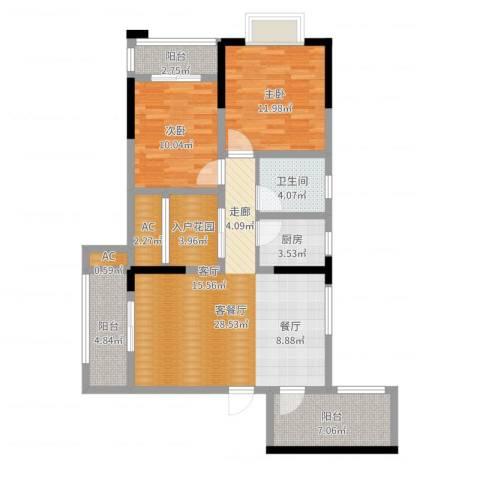 清溪商会大厦2室2厅1卫1厨100.00㎡户型图