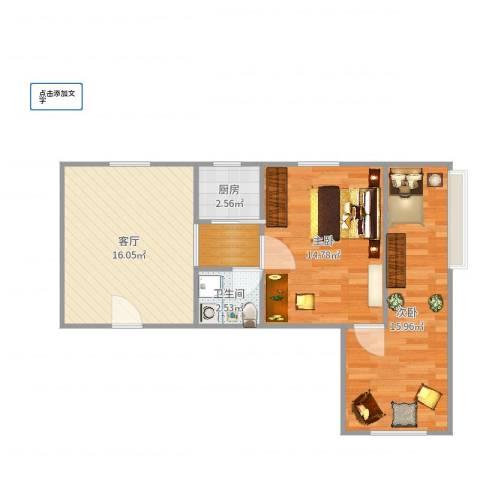 联盟小区西厢园2室1厅1卫1厨67.00㎡户型图