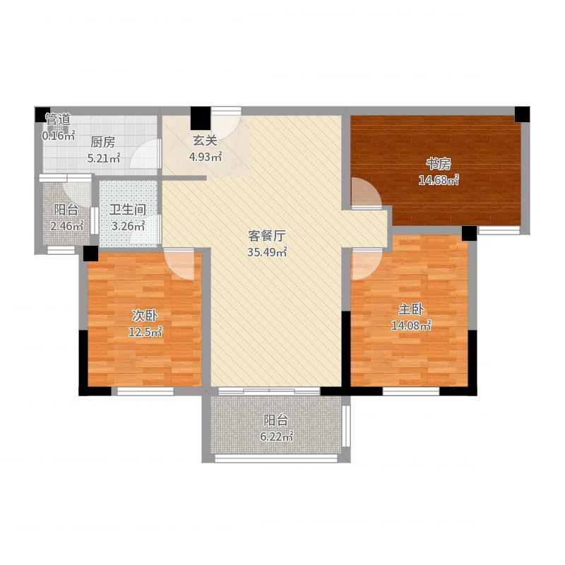 亿力未来城117.46㎡3期35#楼05户型3室3厅1卫1厨-副本户型图