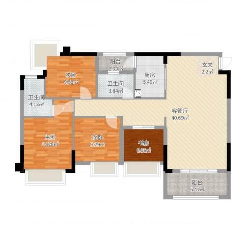 钜隆风度花园4室2厅2卫1厨127.00㎡户型图