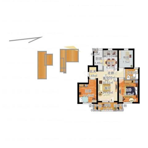 中海银海熙岸3室2厅1卫1厨121.00㎡户型图