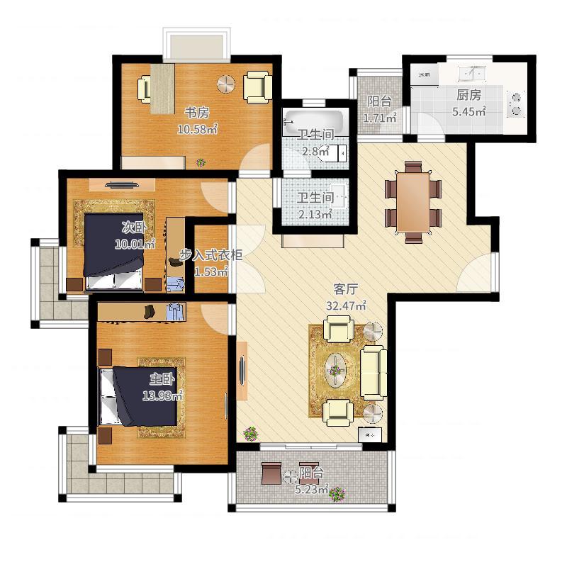 P品家都市星城(1期)118平米1栋03室户型图