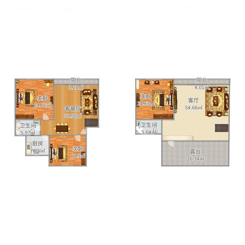 安盛苑160平方顶楼复式户型图