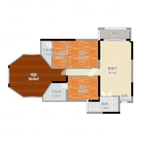 朗晴名门3室2厅2卫1厨155.00㎡户型图